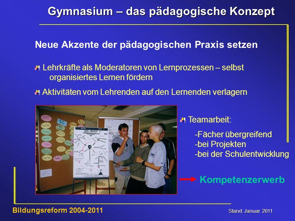 Gymnasium – das pädagogische Konzept Stand: Januar 2011 Bildungsreform 2004-2011 Lehrkräfte als Moderatoren von Lernprozessen – selbst organisiertes L