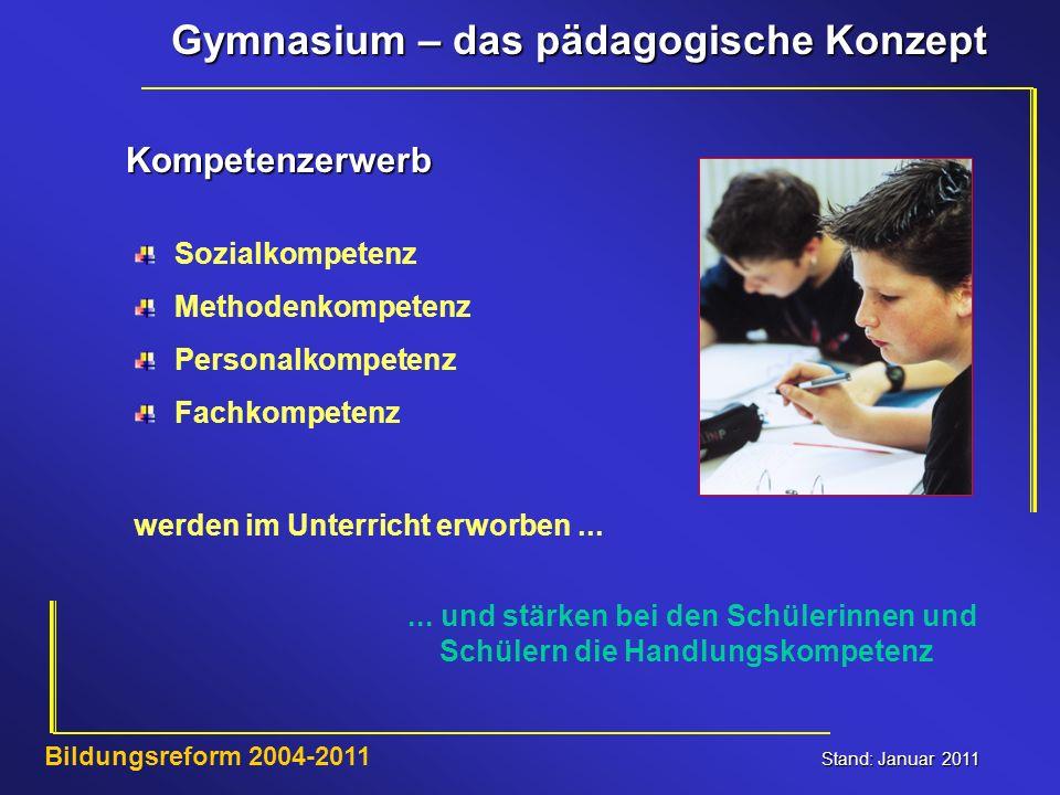 Gymnasium – das pädagogische Konzept Stand: Januar 2011 Bildungsreform 2004-2011 Kompetenzerwerb Sozialkompetenz Methodenkompetenz Personalkompetenz F