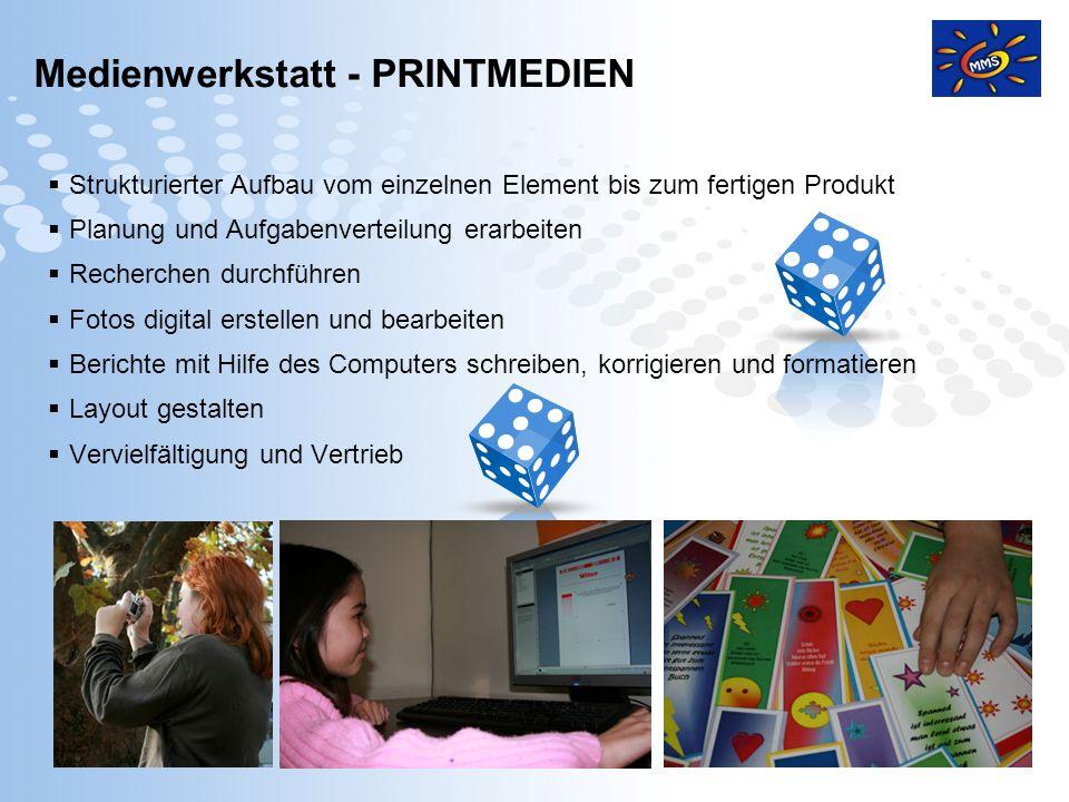 Page 12 Medienwerkstatt - PRINTMEDIEN Strukturierter Aufbau vom einzelnen Element bis zum fertigen Produkt Planung und Aufgabenverteilung erarbeiten R