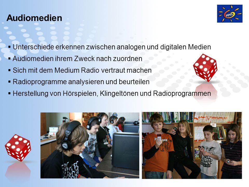 Page 13 Unterschiede erkennen zwischen analogen und digitalen Medien Audiomedien ihrem Zweck nach zuordnen Sich mit dem Medium Radio vertraut machen R