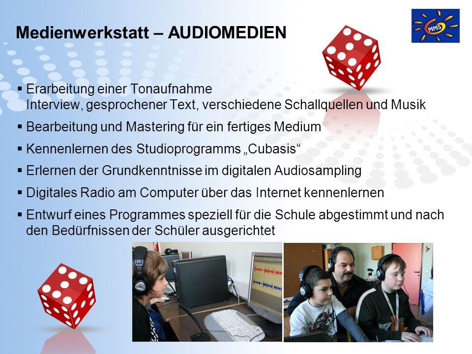 Page 14 Medienwerkstatt – AUDIOMEDIEN Erarbeitung einer Tonaufnahme Interview, gesprochener Text, verschiedene Schallquellen und Musik Bearbeitung und