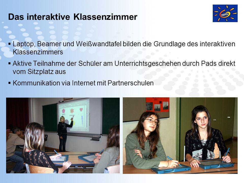 Page 5 Das interaktive Klassenzimmer Laptop, Beamer und Weißwandtafel bilden die Grundlage des interaktiven Klassenzimmers Aktive Teilnahme der Schüle