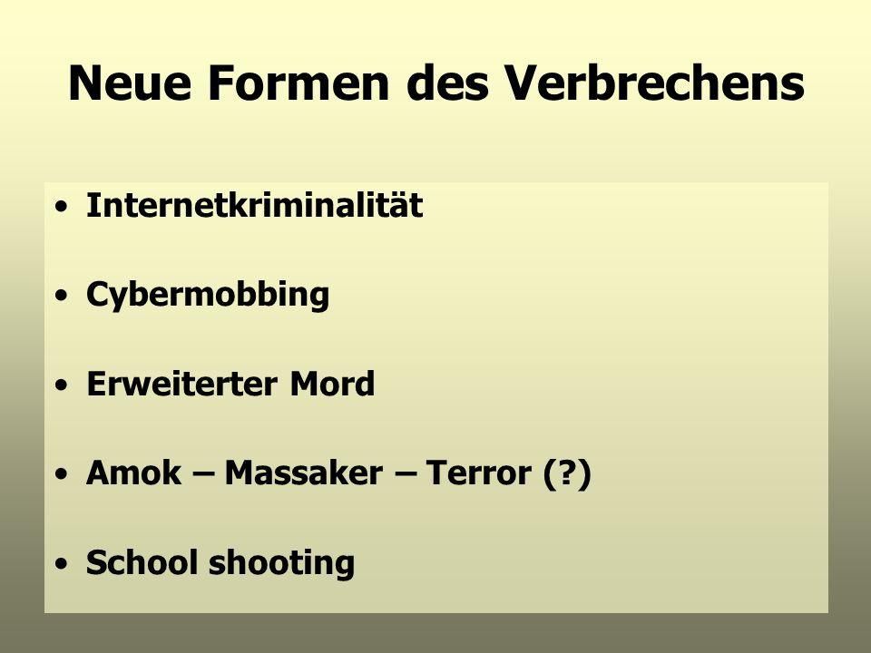 Neue Formen des Verbrechens Internetkriminalität Cybermobbing Erweiterter Mord Amok – Massaker – Terror (?) School shooting