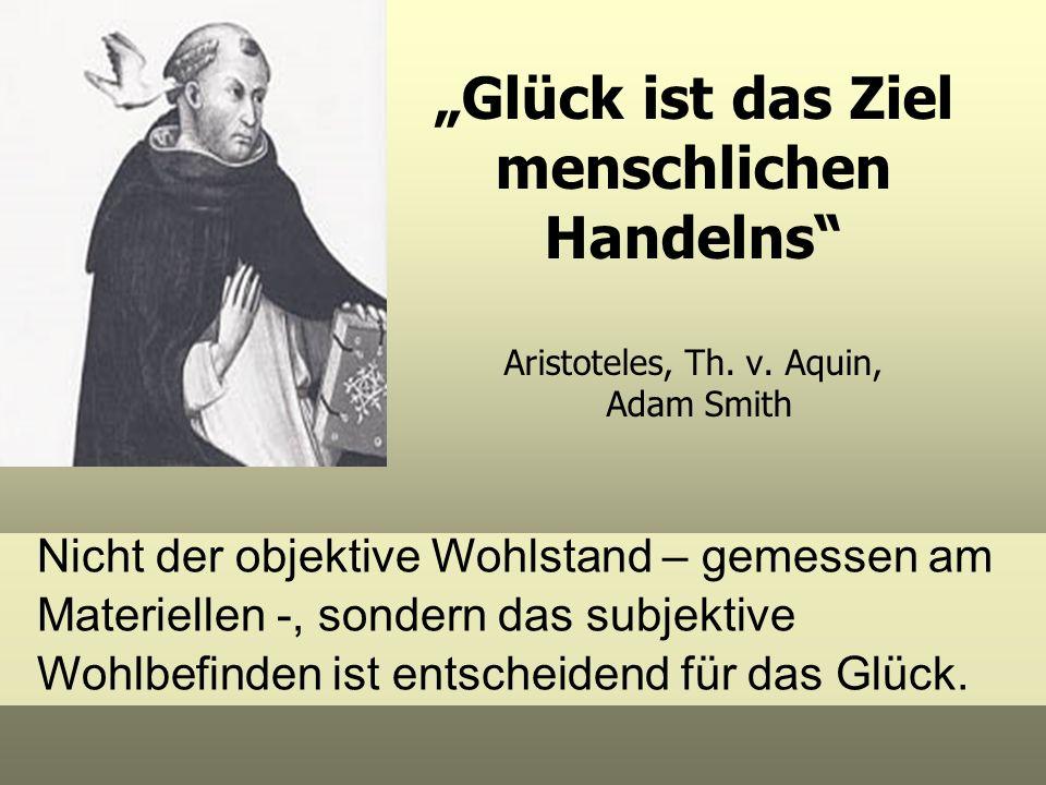 Glück ist das Ziel menschlichen Handelns Aristoteles, Th. v. Aquin, Adam Smith Nicht der objektive Wohlstand – gemessen am Materiellen -, sondern das