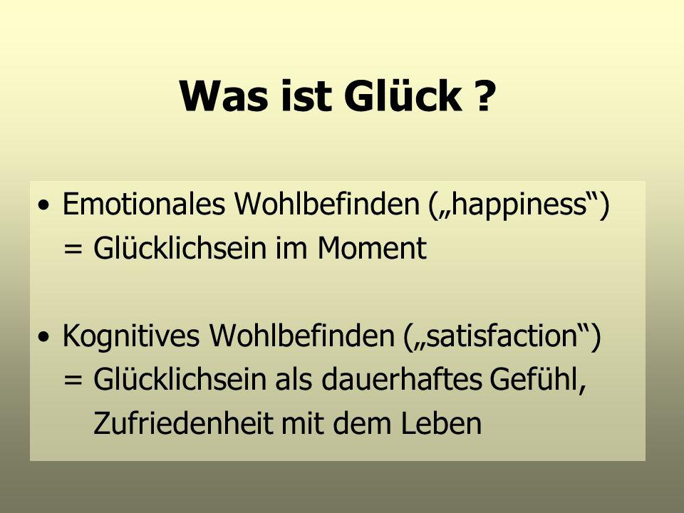 Was ist Glück ? Emotionales Wohlbefinden (happiness) = Glücklichsein im Moment Kognitives Wohlbefinden (satisfaction) = Glücklichsein als dauerhaftes