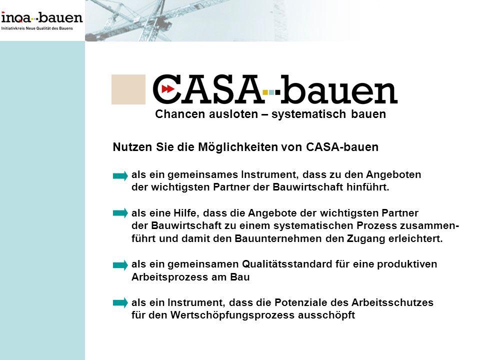 Chancen ausloten – systematisch bauen Nutzen Sie die Möglichkeiten von CASA-bauen als ein gemeinsames Instrument, dass zu den Angeboten der wichtigste