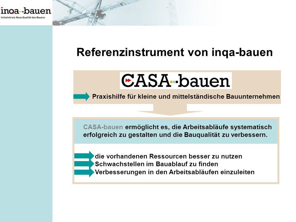Referenzinstrument von inqa-bauen die vorhandenen Ressourcen besser zu nutzen Schwachstellen im Bauablauf zu finden Verbesserungen in den Arbeitsabläu