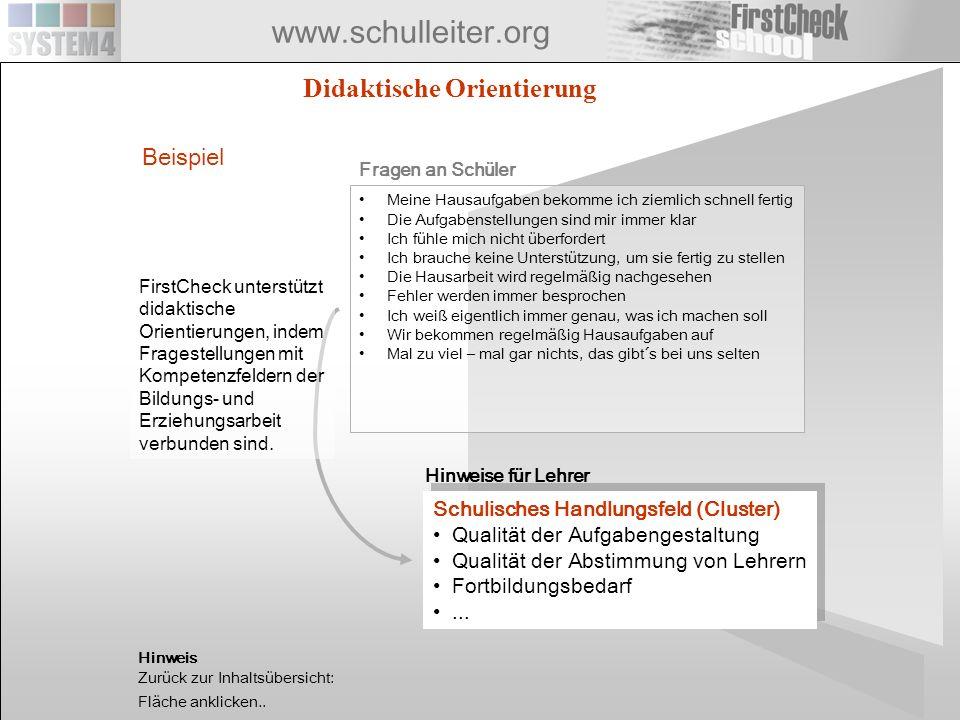 www.schulleiter.org Beispiel Meine Hausaufgaben bekomme ich ziemlich schnell fertig Die Aufgabenstellungen sind mir immer klar Ich fühle mich nicht üb