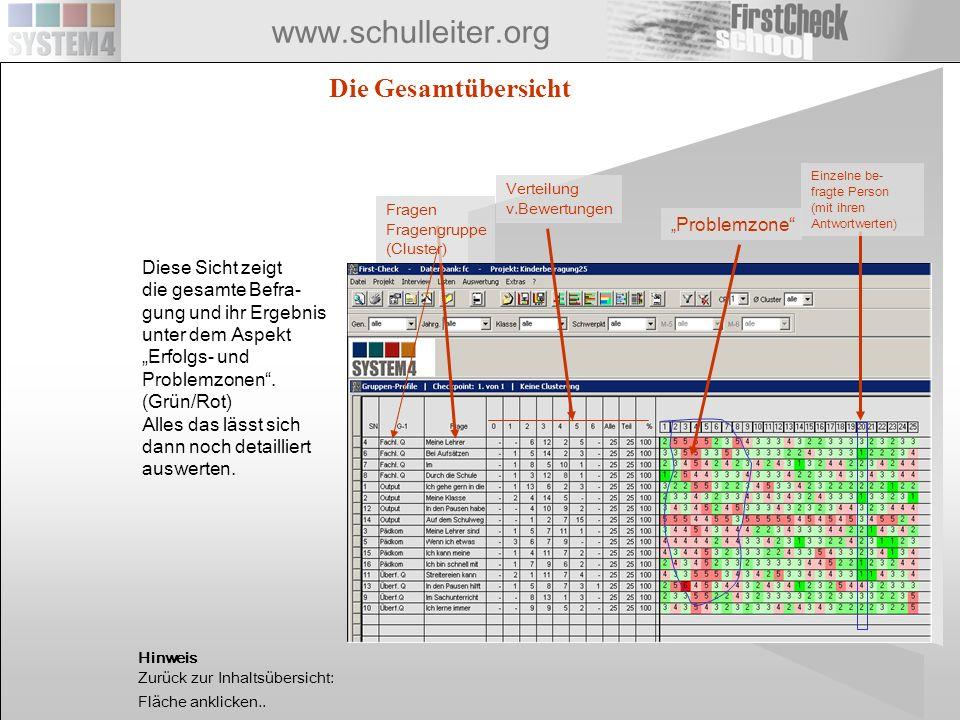 www.schulleiter.org Die Gesamtübersicht Problemzone Einzelne be- fragte Person (mit ihren Antwortwerten) Fragen Fragengruppe (Cluster) Verteilung v.Be