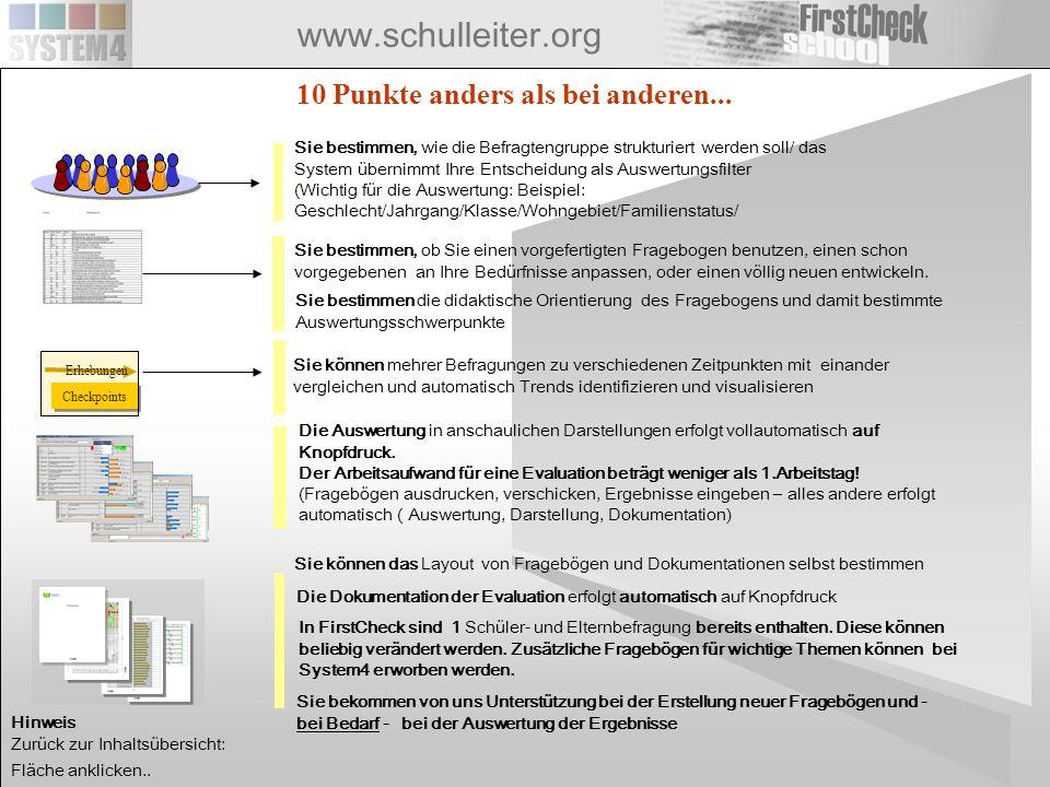 www.schulleiter.org Checkpoints Erhebungen 10 Punkte anders als bei anderen... Sie bestimmen, wie die Befragtengruppe strukturiert werden soll/ das Sy