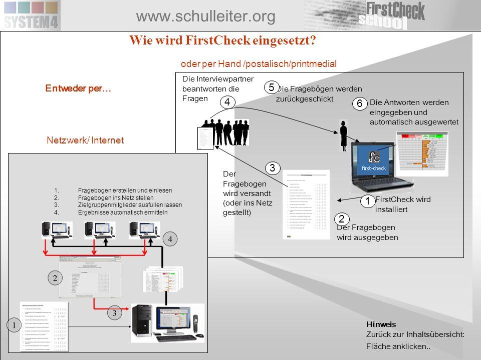 www.schulleiter.org Wie wird FirstCheck eingesetzt? Der Fragebogen wird ausgegeben Die Interviewpartner beantworten die Fragen Die Fragebögen werden z