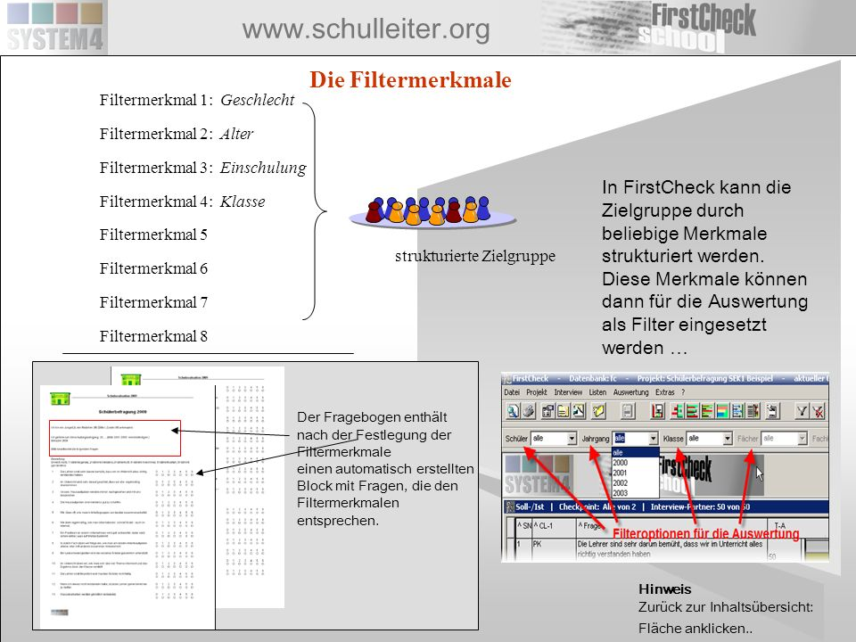 www.schulleiter.org strukturierte Zielgruppe Filtermerkmal 1: Geschlecht Filtermerkmal 2: Alter Filtermerkmal 3: Einschulung Filtermerkmal 4: Klasse F