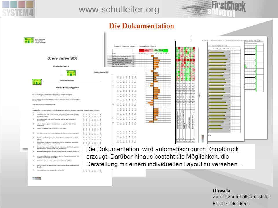 www.schulleiter.org Die Dokumentation Die Dokumentation wird automatisch durch Knopfdruck erzeugt. Darüber hinaus besteht die Möglichkeit, die Darstel