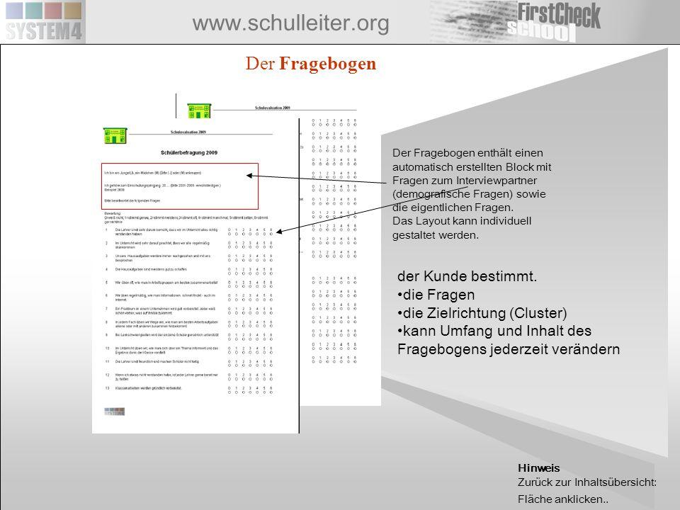 www.schulleiter.org 1 1 1 3 4 Echter FC Client FC-Runtime-Client 2 FC-Runtime-Client 1 2 FC-Client Erstellung Fragebogen, Auswertung Fragbogen-UPLOAD Erhebungsdaten-DOWNDOAD AUSWERTUNGEN AUSGABEN FC-WEBSERVER Apex-Oracle basierte Applikation zur Bereitstellung und Verwaltung von Erhebungsprojekten im Intra/Internet FC- Runtime-Client FirstCheck-Standardapplikation zur Bereitstellung von Fragebögen, Datenanalyse, Dokumentation und Vorbereitung von Erhebungsprojekten (Incl.