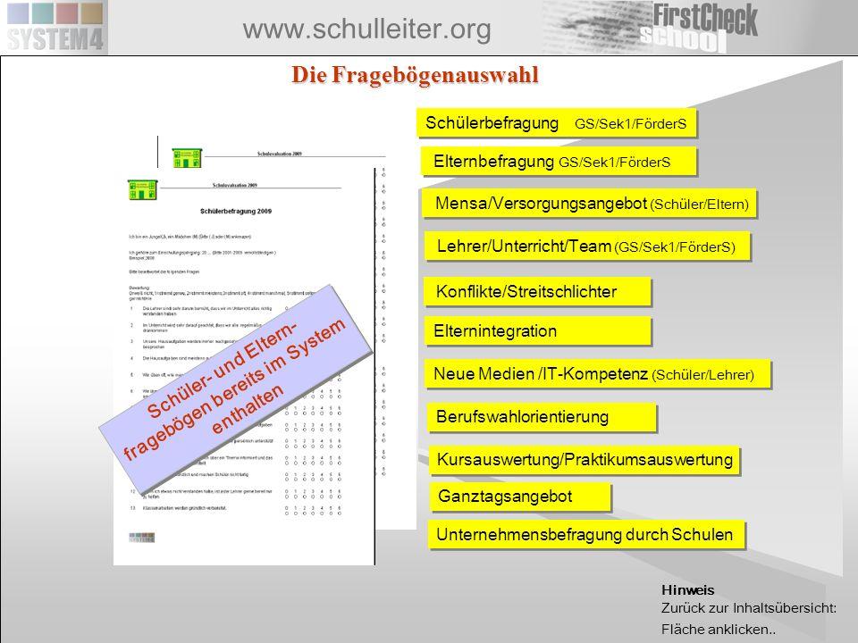 www.schulleiter.org Einfache Eingabe von Erhebungsergebnissen durch Smart-Tool Für die umfangreiche Eingabe von Befragungsergebnissen hat sich das Schnell-Eingabe-Tool von FirstCheck gewährt.