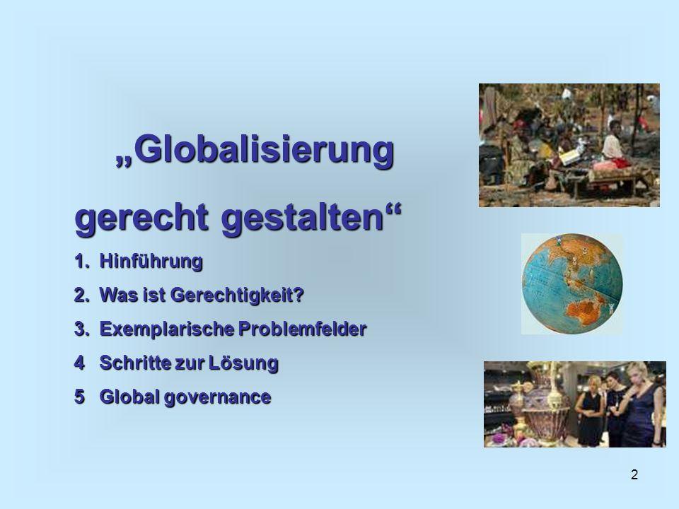 2 Globalisierung gerecht gestalten 1.Hinführung 2.Was ist Gerechtigkeit? 3.Exemplarische Problemfelder 4Schritte zur Lösung 5Global governance