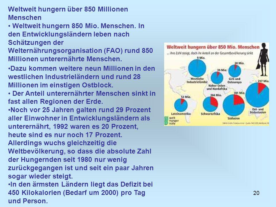 20 Weltweit hungern über 850 Millionen Menschen Weltweit hungern 850 Mio. Menschen. In den Entwicklungsländern leben nach Schätzungen der Welternährun