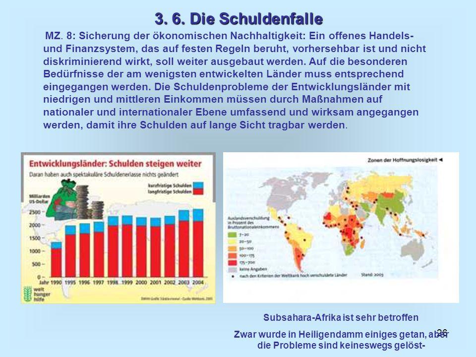 26 3. 6. Die Schuldenfalle MZ. 8: Sicherung der ökonomischen Nachhaltigkeit: Ein offenes Handels- und Finanzsystem, das auf festen Regeln beruht, vorh