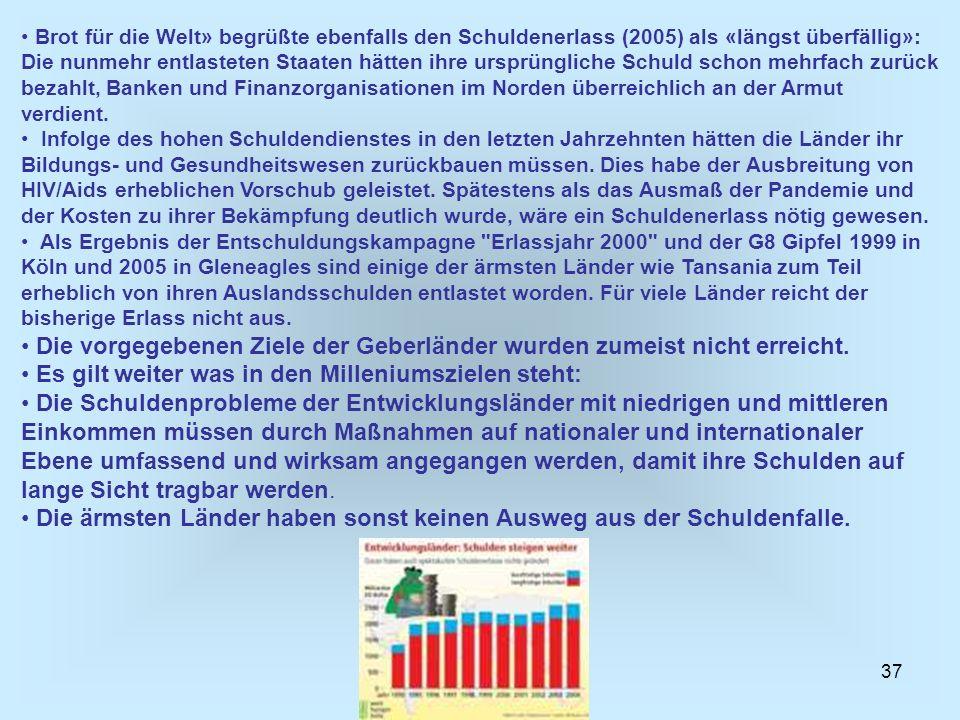 37 Brot für die Welt» begrüßte ebenfalls den Schuldenerlass (2005) als «längst überfällig»: Die nunmehr entlasteten Staaten hätten ihre ursprüngliche
