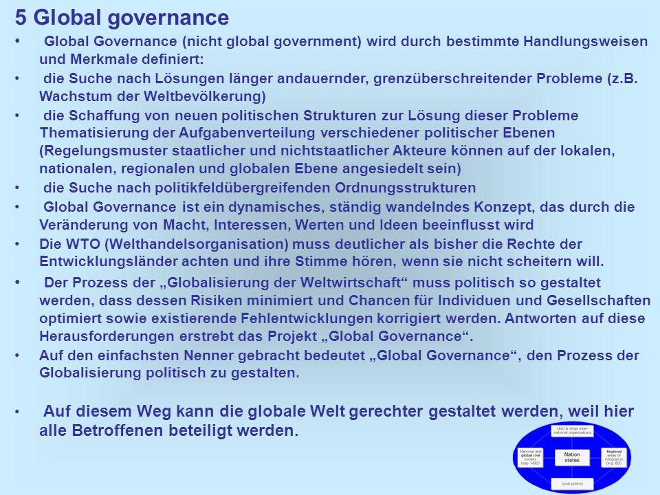 38 5 Global governance Global Governance (nicht global government) wird durch bestimmte Handlungsweisen und Merkmale definiert: die Suche nach Lösunge