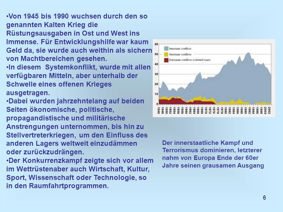 17 Milleniumsziele (MZ) der UN von 2000 von allen Mitgliedsstaaten, ob arm oder reich.
