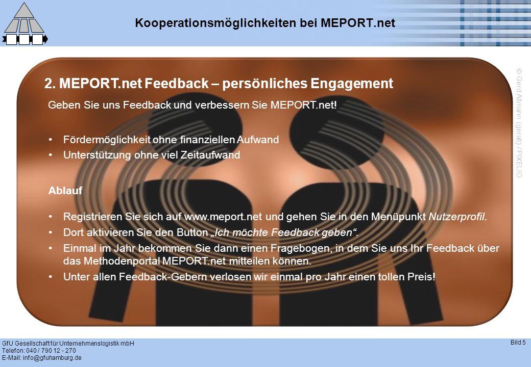 GfU Gesellschaft für Unternehmenslogistik mbH Telefon: 040 / 790 12 - 270 E-Mail: info@gfuhamburg.de Bild 6 Kooperationsmöglichkeiten bei MEPORT.net 3.