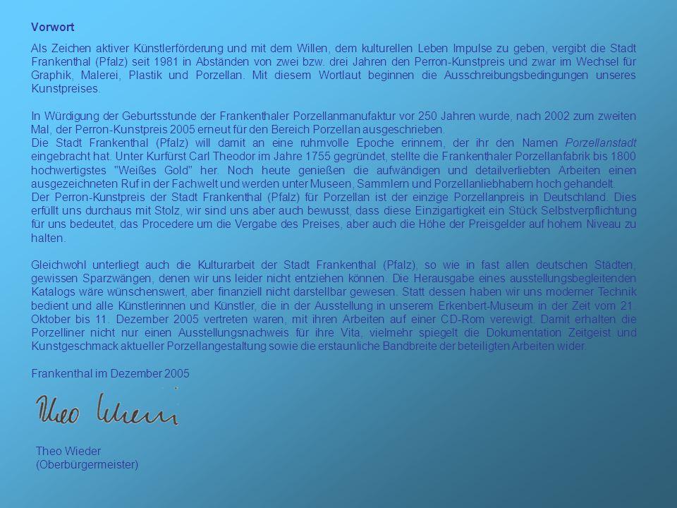Vorwort Als Zeichen aktiver Künstlerförderung und mit dem Willen, dem kulturellen Leben Impulse zu geben, vergibt die Stadt Frankenthal (Pfalz) seit 1