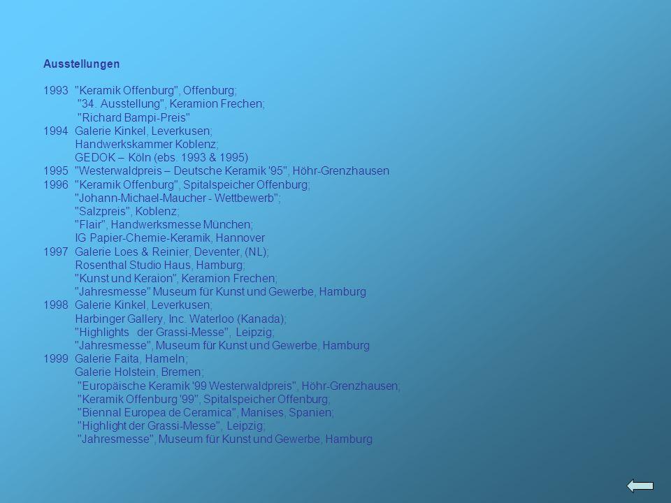 2000Werkstattausstellung bei Uwe und Inke Lerch; Christophstrasse, Köln; Galerie Faita, Hameln; Sammlung Egner, Keramion, Frechen; Zeitgenössische Keramik in Frechen 1965 – 2000, Keramion Frechen; Jahresmesse Kunst und Gewerbe, Museum, Hammburg 200152° Concorso Internazionale della Ceramica d Arte Contemporanea Faenza, Italien; Konsens und Kontraste , Keramion, Frechen; Galerie Theresa Egger (Österreich); World Ceramic Exposition (Korea); Wohnen & Kunst, Hamburg; Grassi-Messe, Leipzig; Focke-Museum, Bremen; Jahresmesse Kunst und Gewerbe Museum, Hamburg; Kahla kreativ , Museum für Angewandte Kunst, Gera 2002 Form und Glasur , Keramikmuseum Westerwald, Höhr-Grenzhausen; XVII.