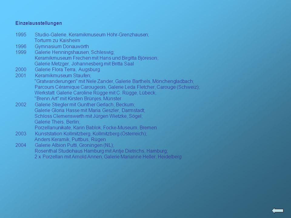 Etsuko Ozawa Gruppe geboren 1978 in Nagano (Japan) 1996 – 1997BFA studies Humboldt State University, International English Language Institute 1998 – 2001Academy of Art College San Francisco, California (USA) 2001 Sculpture technician and Ceramic technician; Loading and Firing electric and gas kiln, mixing clay Winter 2002 Muthesius Hochschule, Kiel 2002 Studio-Assistent bei Peter Schifrin, Sculpture Department, Academy of Art College San Francisco, California (USA) Preise 2002NICHE Student Award, in the category of Mixed and Miscellaneous Media (USA); Spring show 2002 Academy of Art College, San Francisco, CA (USA) Best mixed media Sculpture Award Ausstellungen 2001The 2nd Japan Neon Art Exhibit in Nagoya, Japan 2001, Nagoya (Japan); Spring Show 2001 Academy of Art College, Director s Choice Award, San Francisco, CA (USA) 2002 Neon Works Neon Group Show, University of California, San Diego Crafts Center / Grove Gallery, San Diego, CA (USA); Spring show 2002 Academy of Art College, San Francisco, CA (USA); Group Show, 79 New Montgomery Academy of Art College Gallery, San Francisco, CA (USA); Three people Group Show, 410 Bush Academy of Art College Gallery, San Francisco, CA (USA) 2003 Kommunizieren , Ministerium für ländliche Räume, Kiel 2004 Common ground Nr.