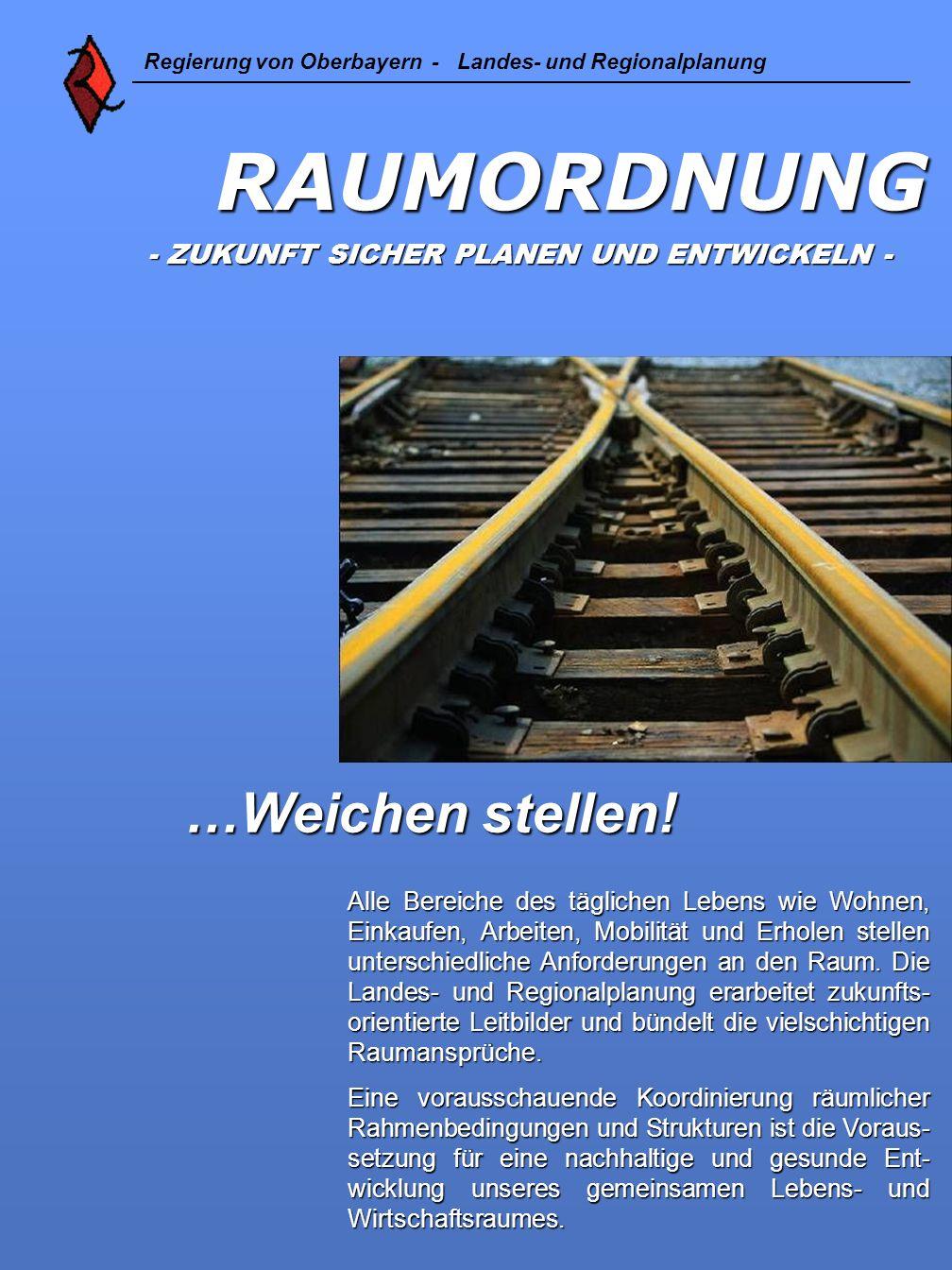 RAUMORDNUNG - ZUKUNFT SICHER PLANEN UND ENTWICKELN - - ZUKUNFT SICHER PLANEN UND ENTWICKELN - Regierung von Oberbayern - Landes- und Regionalplanung …