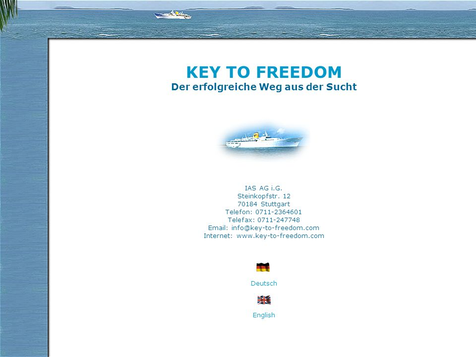 Informations KEY TO FREEDOM is the alternative to traditional therapy facilities for the treatment of alcohol and medical drug addicts KEY TO FREEDOM an oceangoing 120-m-class cruise liner sailing mainly in the pleasantly warm regions of the Mediterranean Sea.