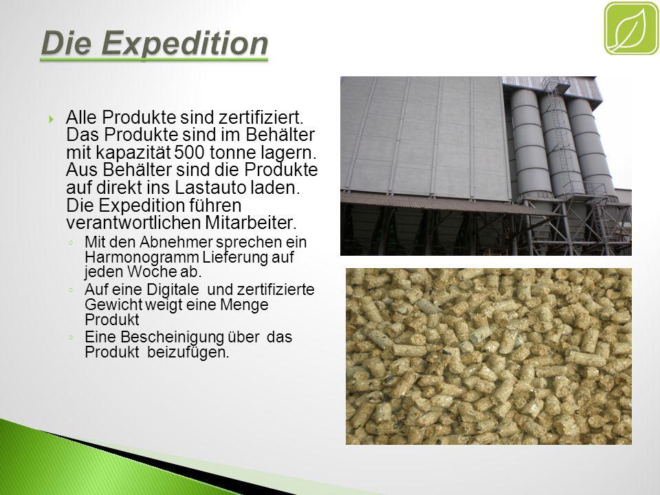 Alle Produkte sind zertifiziert. Das Produkte sind im Behälter mit kapazität 500 tonne lagern. Aus Behälter sind die Produkte auf direkt ins Lastauto