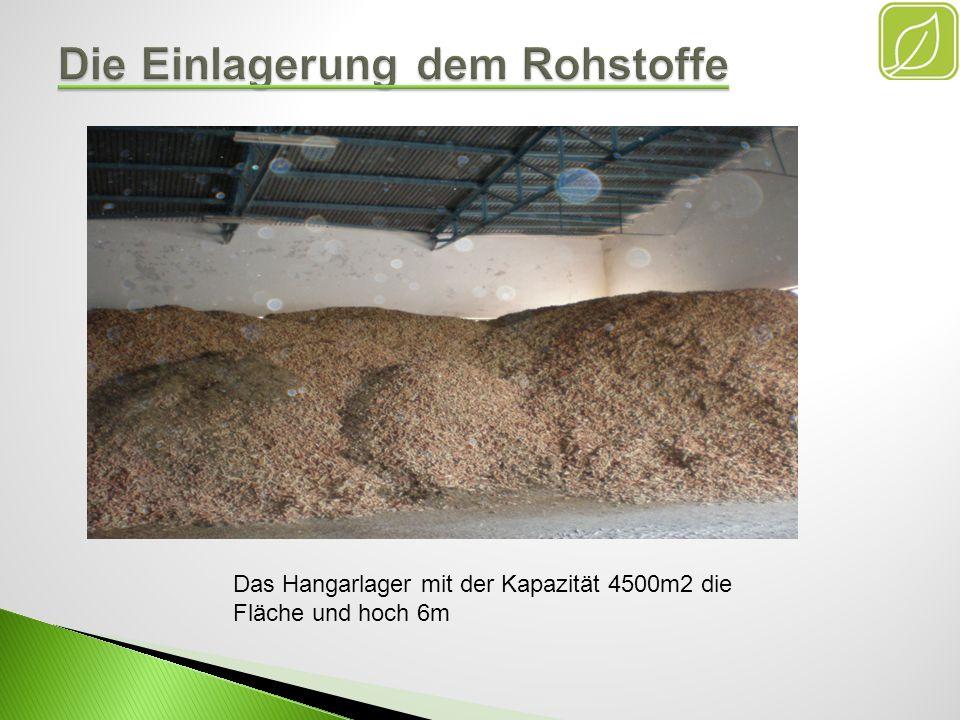 Die Zellelager mit der Kapazität 4000m3 für dem weichen Rohstoffe und der Getreide.