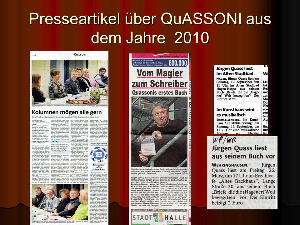 Presseartikel über QuASSONI aus dem Jahre 2010