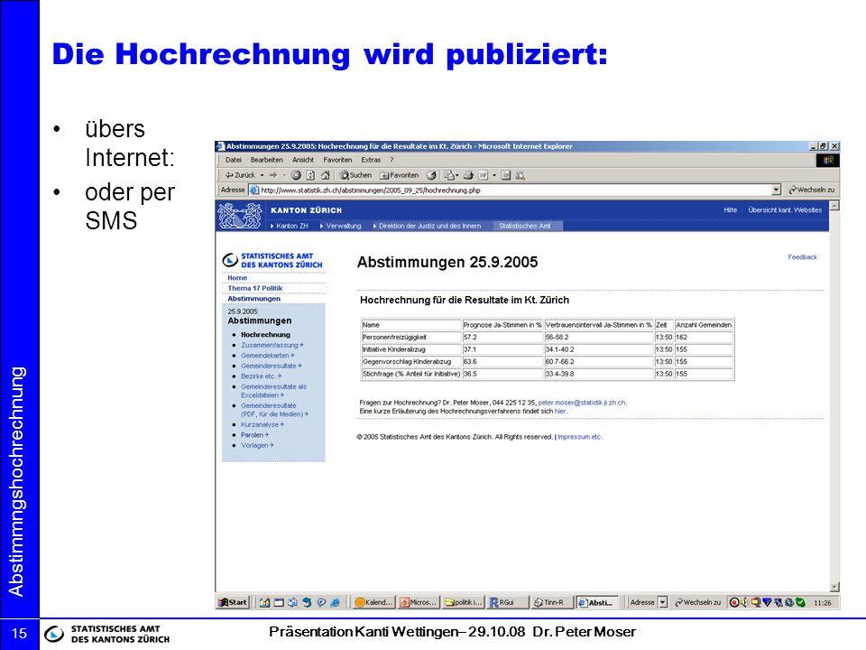 Präsentation Kanti Wettingen– 29.10.08 Dr. Peter Moser Abstimmngshochrechnung 15 Die Hochrechnung wird publiziert: übers Internet: oder per SMS