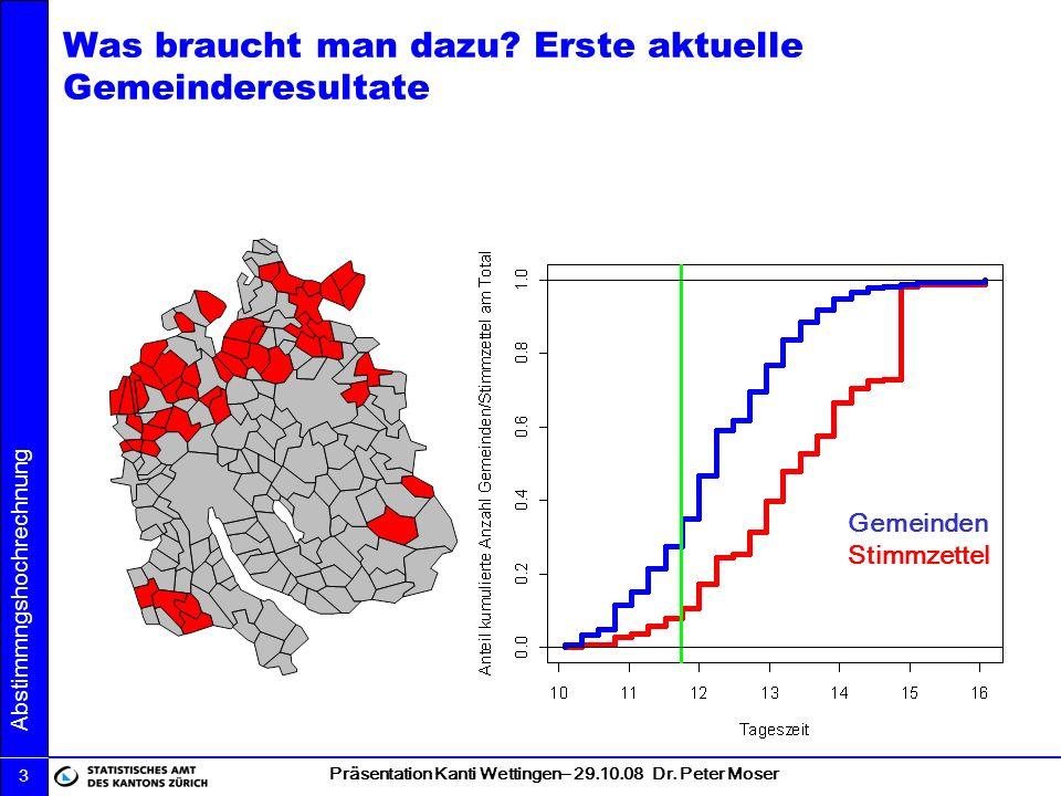 Präsentation Kanti Wettingen– 29.10.08 Dr. Peter Moser Abstimmngshochrechnung 3 Was braucht man dazu? Erste aktuelle Gemeinderesultate Gemeinden Stimm