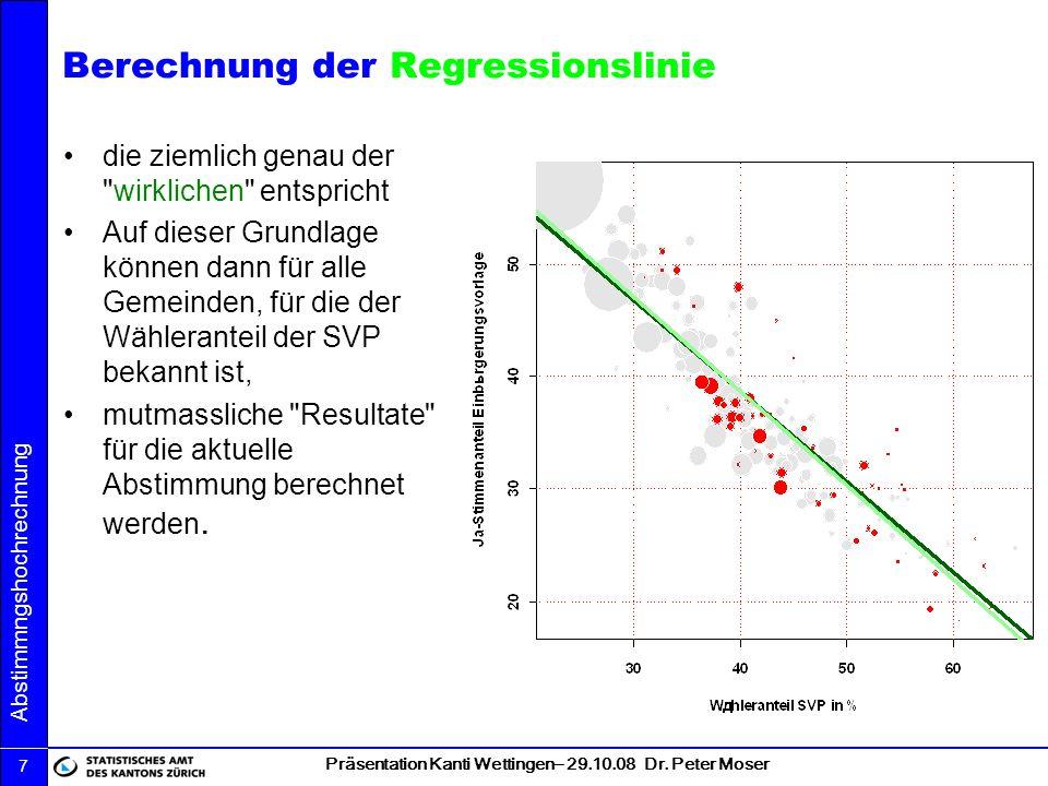 Präsentation Kanti Wettingen– 29.10.08 Dr. Peter Moser Abstimmngshochrechnung 7 Berechnung der Regressionslinie die ziemlich genau der