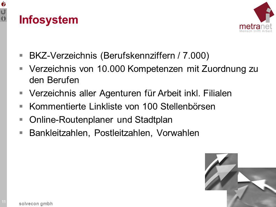 11 solvecon gmbh Infosystem BKZ-Verzeichnis (Berufskennziffern / 7.000) Verzeichnis von 10.000 Kompetenzen mit Zuordnung zu den Berufen Verzeichnis al