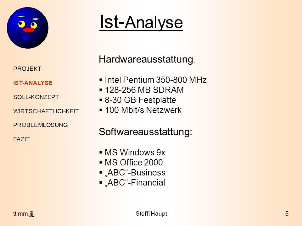 PROJEKT IST-ANALYSE SOLL-KONZEPT WIRTSCHAFTLICHKEIT PROBLEMLÖSUNG FAZIT 5tt.mm.jjjj Ist- Analyse Hardwareausstattung : Intel Pentium 350-800 MHz 128-2