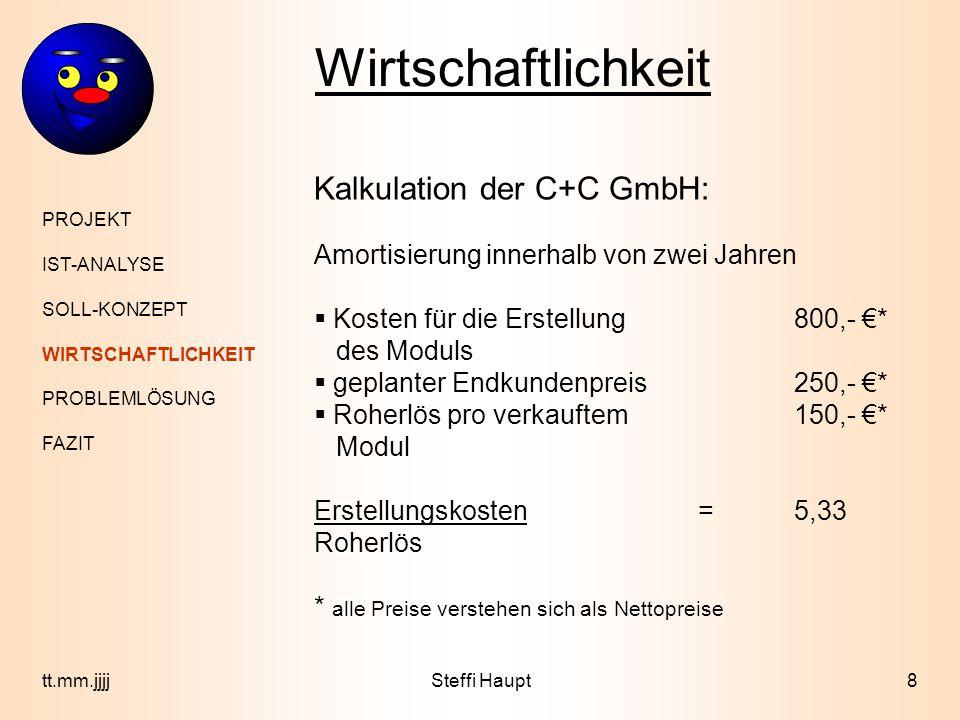 Wirtschaftlichkeit PROJEKT IST-ANALYSE SOLL-KONZEPT WIRTSCHAFTLICHKEIT PROBLEMLÖSUNG FAZIT 9tt.mm.jjjjSteffi Haupt Kosten der Firma XYZ: bisherige Bearbeitungca.