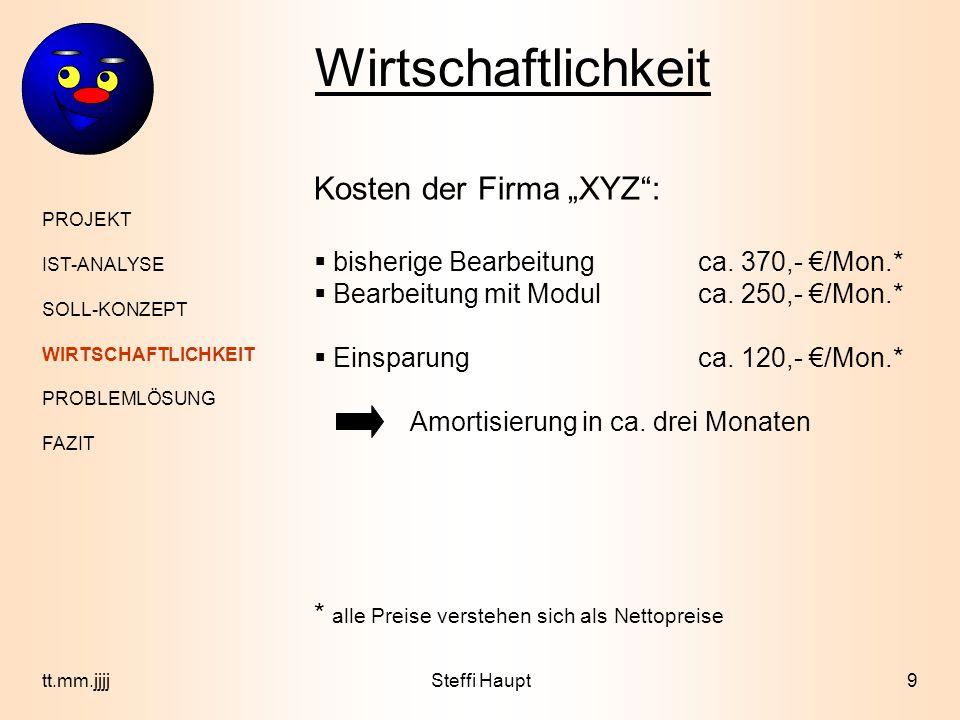 Wirtschaftlichkeit PROJEKT IST-ANALYSE SOLL-KONZEPT WIRTSCHAFTLICHKEIT PROBLEMLÖSUNG FAZIT 9tt.mm.jjjjSteffi Haupt Kosten der Firma XYZ: bisherige Bea
