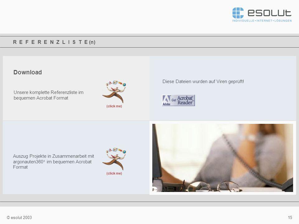 15 © esolut 2003 R E F E R E N Z L I S T E (n) Download Unsere komplette Referenzliste im bequemen Acrobat Format (click me) Diese Dateien wurden auf Viren geprüft.