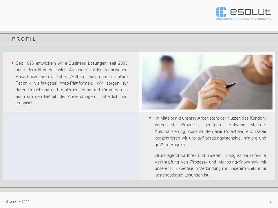 4 © esolut 2003 Seit 1996 entwickeln wir e-Business Lösungen, seit 2003 unter dem Namen esolut.