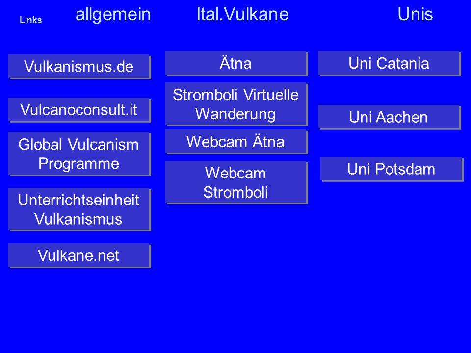 Links Vulkanismus.de Vulcanoconsult.it Global Vulcanism Programme Global Vulcanism Programme Webcam Ätna Webcam Stromboli Webcam Stromboli Uni Catania