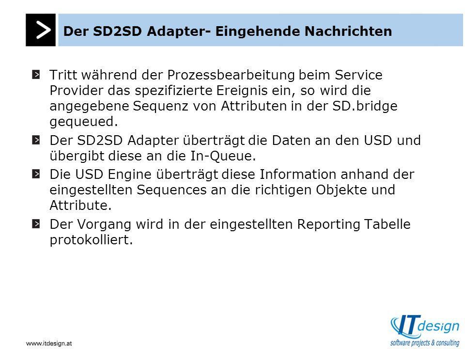 Tritt während der Prozessbearbeitung beim Service Provider das spezifizierte Ereignis ein, so wird die angegebene Sequenz von Attributen in der SD.bridge gequeued.