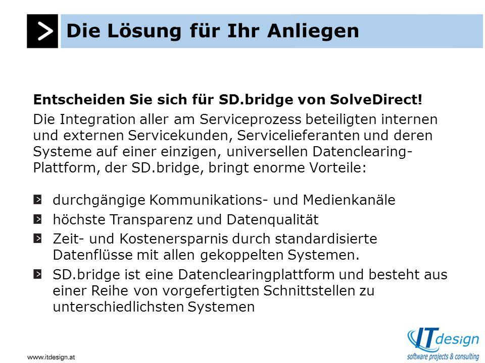 Die Lösung für Ihr Anliegen Entscheiden Sie sich für SD.bridge von SolveDirect.