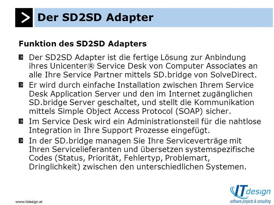 Der SD2SD Adapter Spezifikation des SD2SD Adapters Der SD2SD Adapter ist als Windows Service implementiert, und läuft somit auf allen Windows NT, Windows 2000, usw.