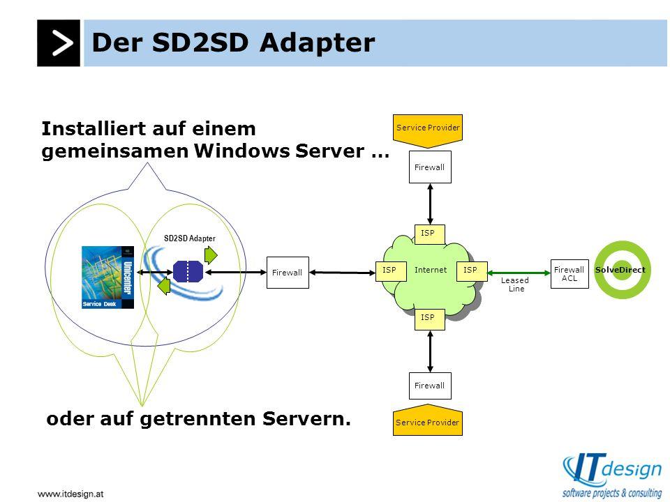Der SD2SD Adapter SD2SD Queues USD Tabellen Datenbank DB Connector WEB Engine USD Engine CA USD Apache Tomcat Apache Axis JSP / Servlets ITd SD2SD Attachment Queueing Object Queueing SD SD.bridge SD Zero Format Bridge SOAP RPC Engine SD2SD Der SD2SD Adapter speichert seine Queueing Daten in der Datenbank, kommuniziert jedoch über das USD WEB API.