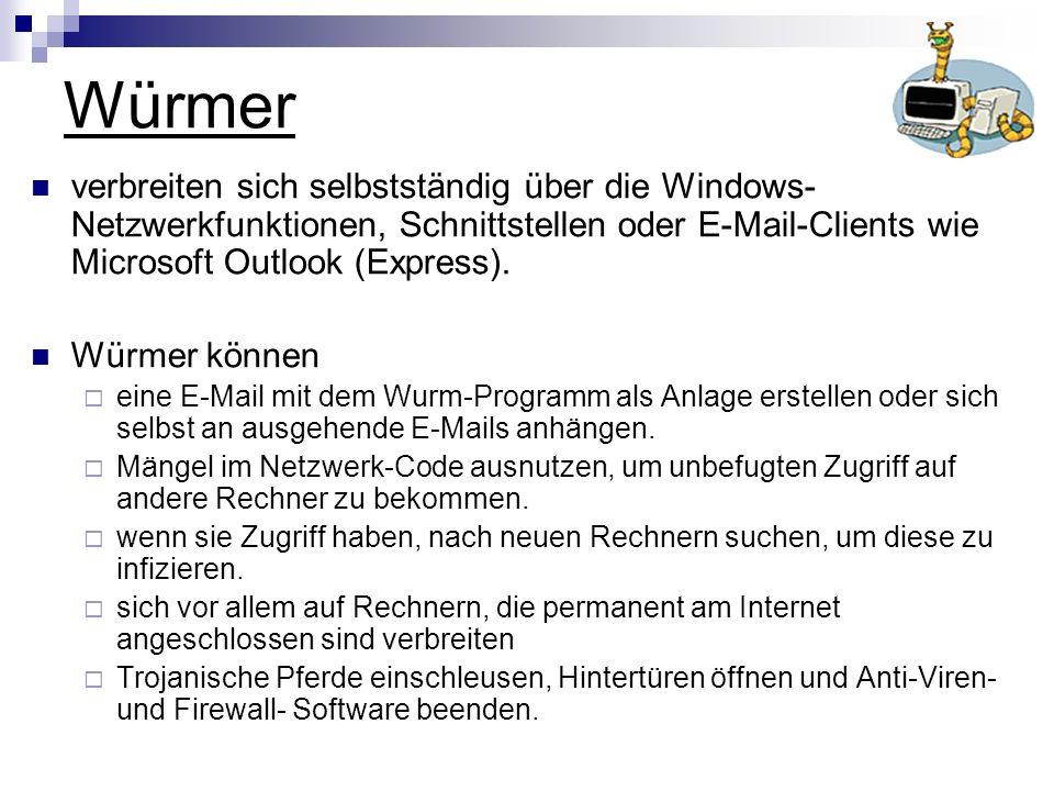 Würmer verbreiten sich selbstständig über die Windows- Netzwerkfunktionen, Schnittstellen oder E-Mail-Clients wie Microsoft Outlook (Express). Würmer