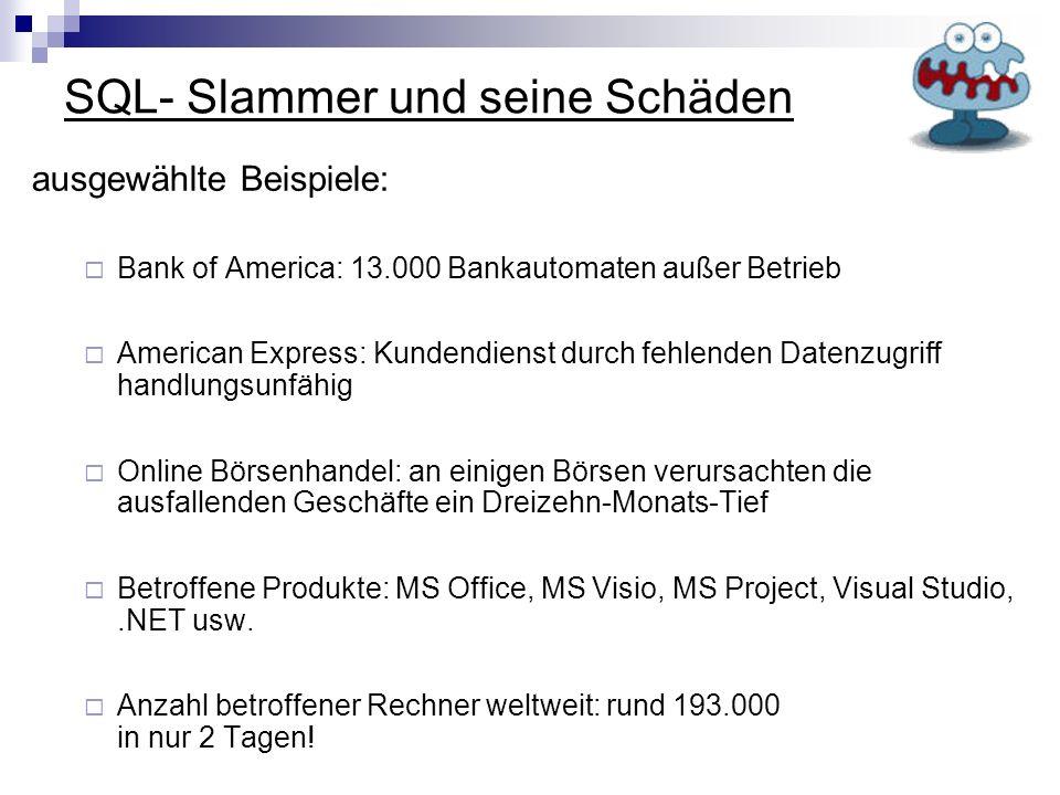 SQL- Slammer und seine Schäden ausgewählte Beispiele: Bank of America: 13.000 Bankautomaten außer Betrieb American Express: Kundendienst durch fehlend